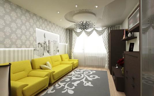 Интерьер зала с серыми обоями фото
