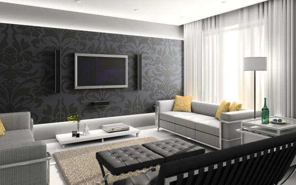 Фото: подобный вариант прекрасно подойдет для большого пространства, но никак не для маленькой и темной комнаты