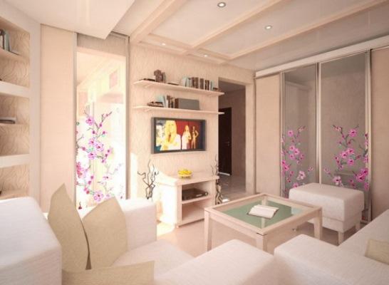 Маленькая уютная гостиная в кремовых тонах