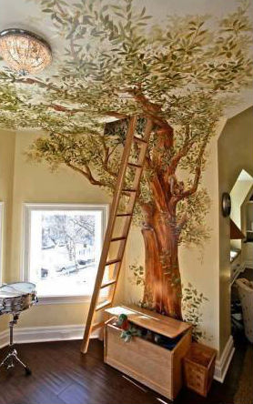 Дерево стена-потолок