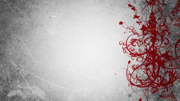 Красные цветы на сером