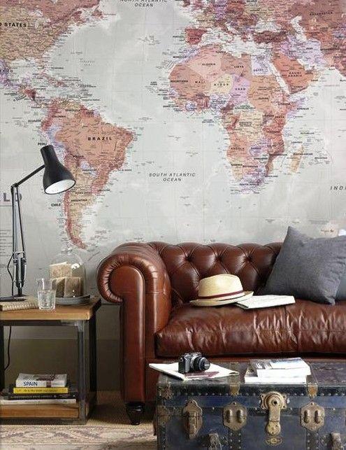 """""""Карта мира"""" и старинная мебель для современного дизайна интерьера в винтажном стиле"""