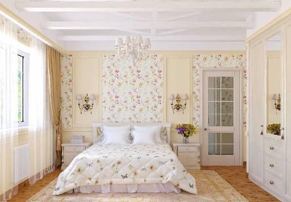 """Спальня с интерьером """"прованс"""" хорошо освещена и наполнена многочисленными цветами"""