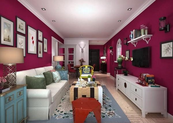 Фото интерьера гостиной пурпурного цвета