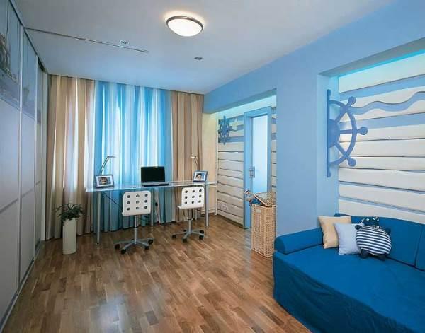 к синим обоям шторы фото