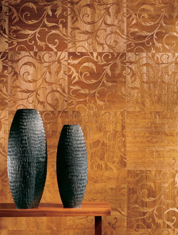 Деревянные обои с вазами