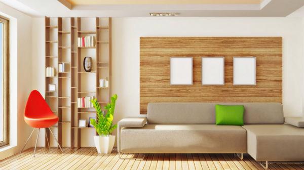 Деревянные обои_комната с зеленью