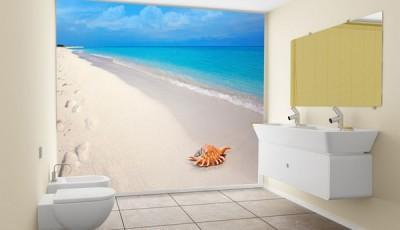Фотообои в туалете берег моря