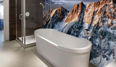 Фотообои в туалете горы