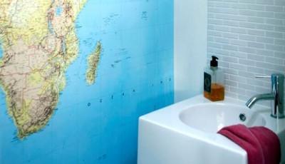 Фотообои в туалете карта