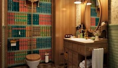 Фотообои в туалете книги на полке