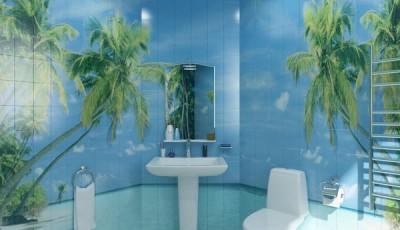Фотообои в туалете пальмы на плитке