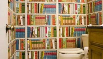 Фотообои в туалете с книгами