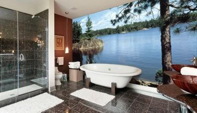 Фотообои в туалете сосны берег озера