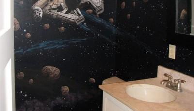 Фотообои в туалете тема космоса
