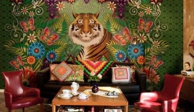 фотообои для гостиной тигр