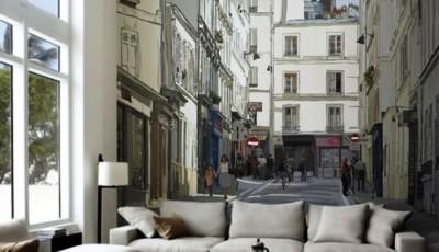 фотообои гостиная город европе