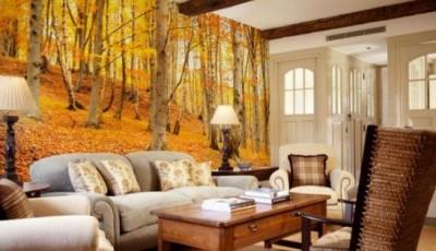 фотообои гостиная осень