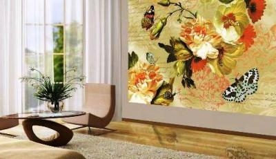 фотообои гостиной бабочки