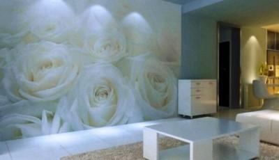 фотообои гостиной дизайн белые розы