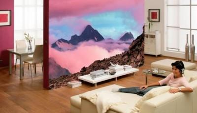 фотообои гостиной горы