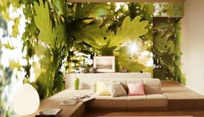 фотообои гостиной листья дуба