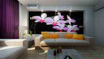 фотообои гостиной цветы
