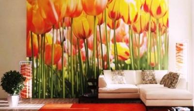 фотообои гостиной тюльпаны