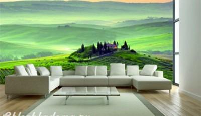 фотообои стен гостиной пейзаж