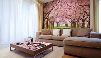 фотообои стен гостиной сакура