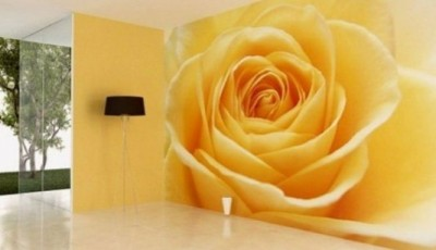 фотообои в гостиной роза