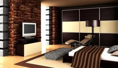 комбинированные обои под коричневую мебель