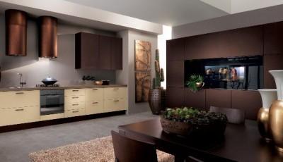 обои для кухни под коричневую мебель