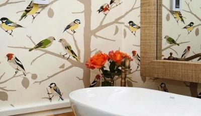 обои для ванной рисунок с птицами