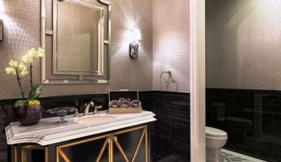 серые водостойкие обои для ванной комнаты