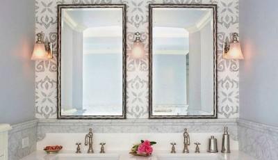 светлые обои в ванную комнату