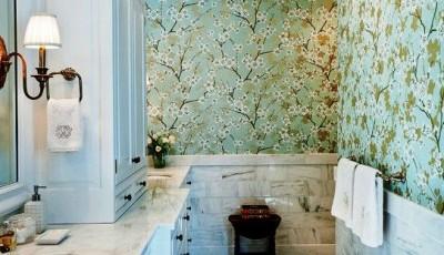 водостойкие обои для ванной с узорами цветов