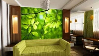 зеленые листья фотообои гостиную
