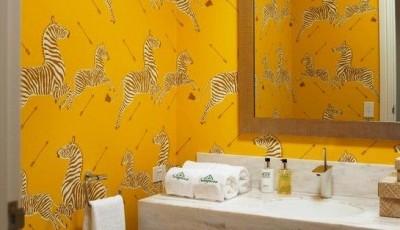 желтые обои виниловые в ванную
