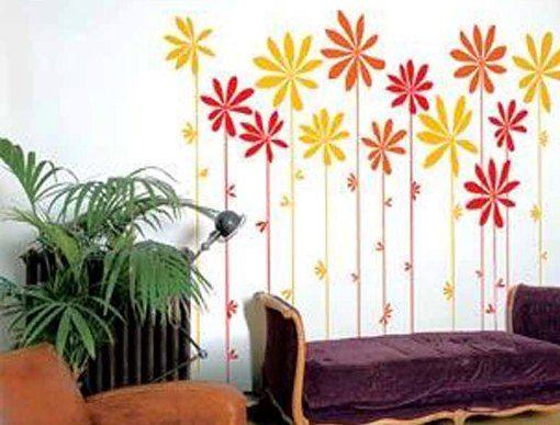 Рисунки цветов на стенах своими руками фото 454