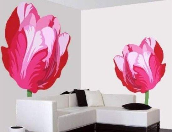Рисунки цветов на стенах своими руками фото 740