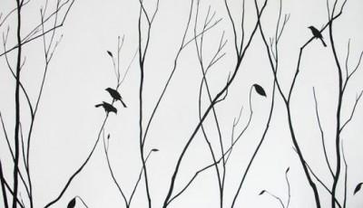черные белые обои с деревьями