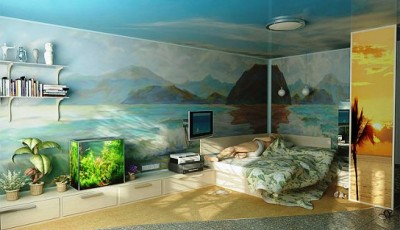 фотообои в морском стиле с рисунком не стене
