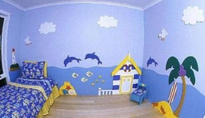 морской стиль в комнате для ребенка