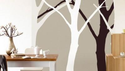 обои с деревьями на кухне