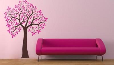 розовые обои с деревьями на стену