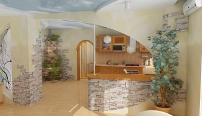 искусственный камень под обои в просторной комнате