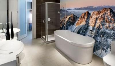Фотообои для ванной горы