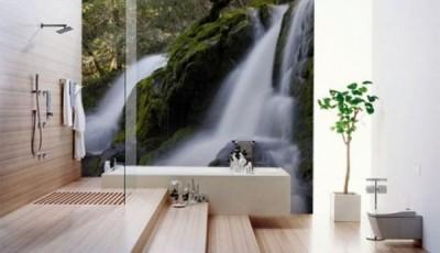 Фотообои для ванной комнаты большой водопад