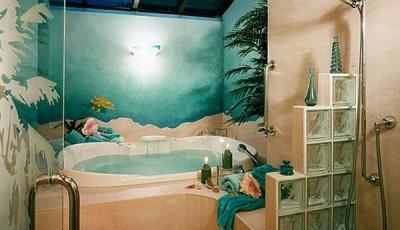 Фотообои для ванной комнаты красивые синие